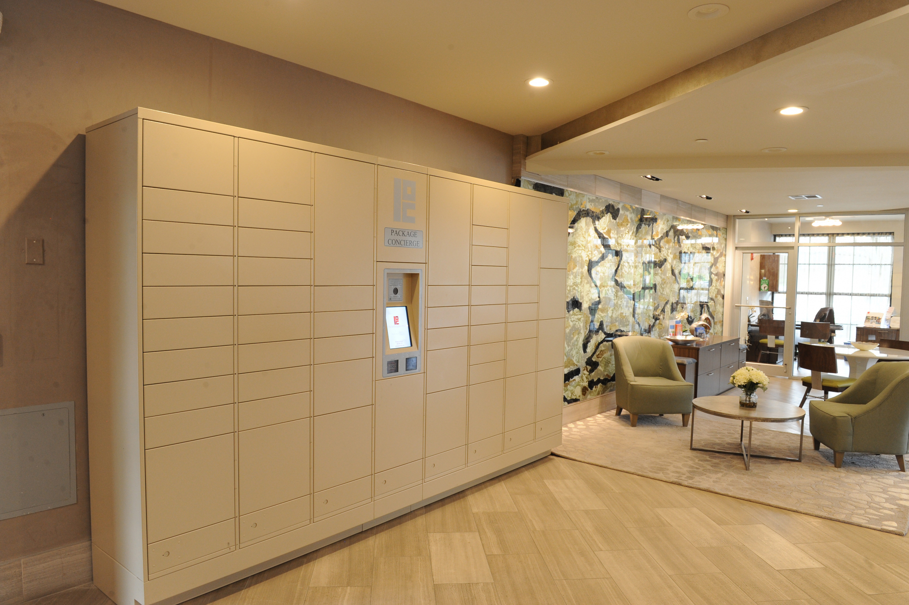 Automated package locker in lobby
