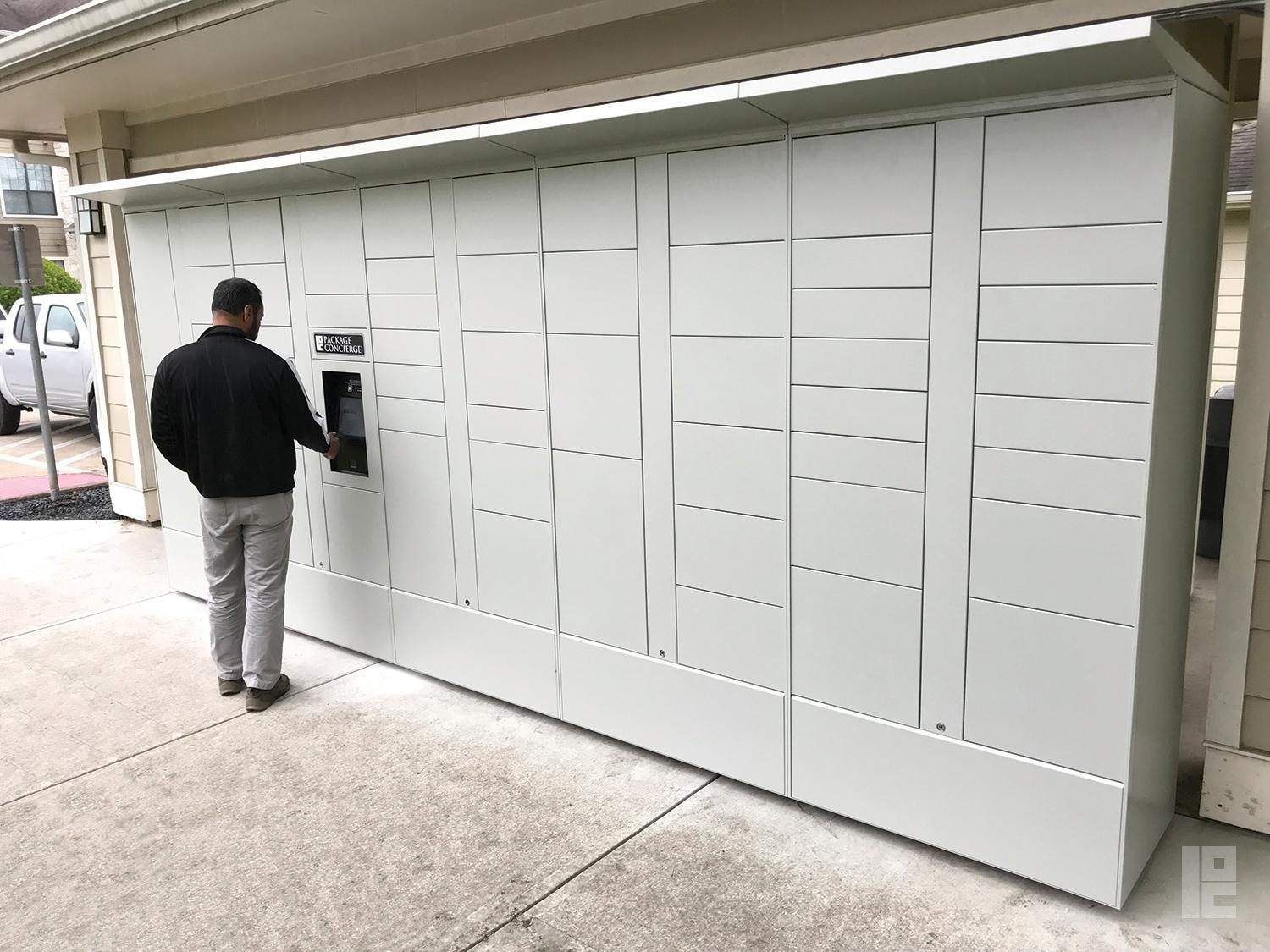 man using outdoor package locker