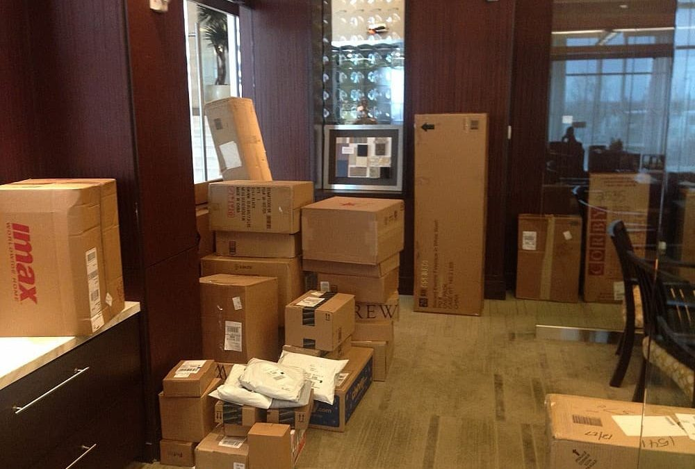 Stacks of packages in hallway