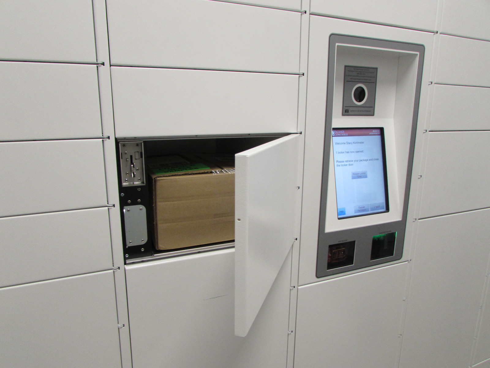 Open Apartment Locker Showing Package